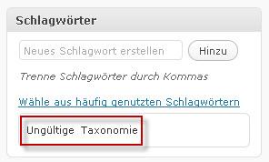 ungültige taxonomie