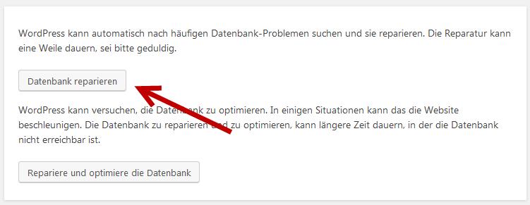 WordPress Datenbank Reparatur